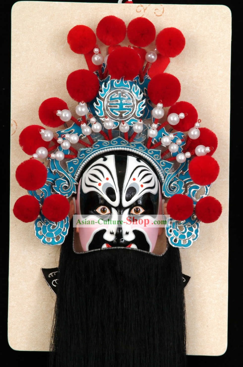 Handcrafted Peking Opera Mask Hanging Decoration - Zhang Fei