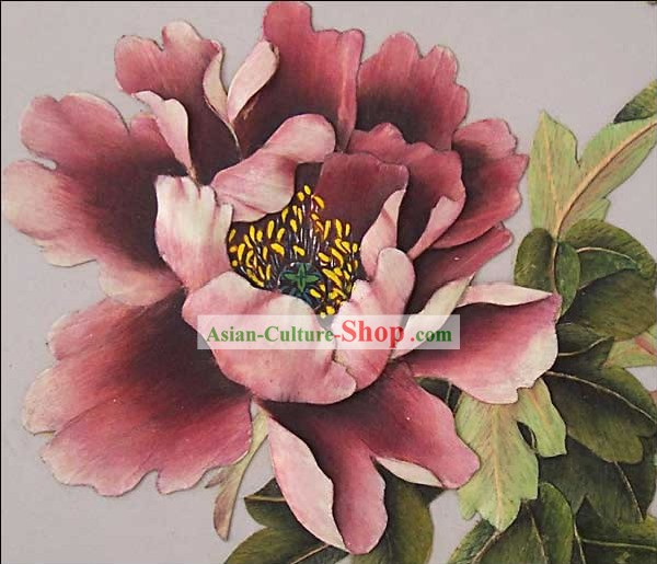 Mano cinese classico Carved Wood House Solid Decorative Painting-Peonia