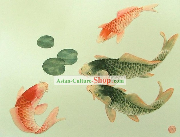Mano cinese classico Carved Wood House Solid Decorative Painting-Prosperous Goldfish