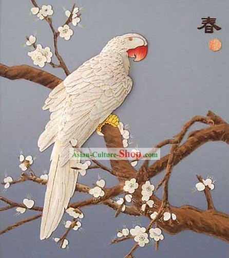 Chinese Classic Hand Carved Wood House Solid Decorative Painting-Parrot