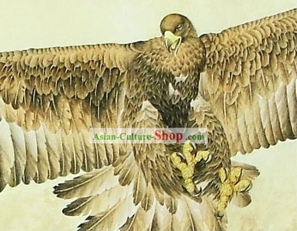 Mano cinese classico Grande Carved Wood House Solid Decorative Painting-Eagle volo nel mare
