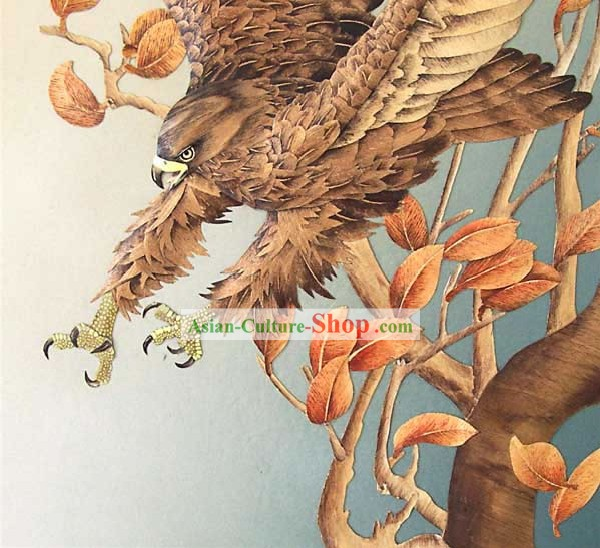 Mano cinese classico Grande Carved Wood House Solid Decorative Painting-Hawk in the Wind