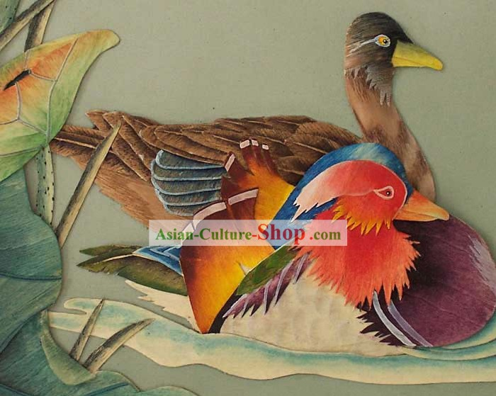 Chinese Classic Large Hand Carved Wood House Solid Decorative Painting-Mandarin Duck Couple