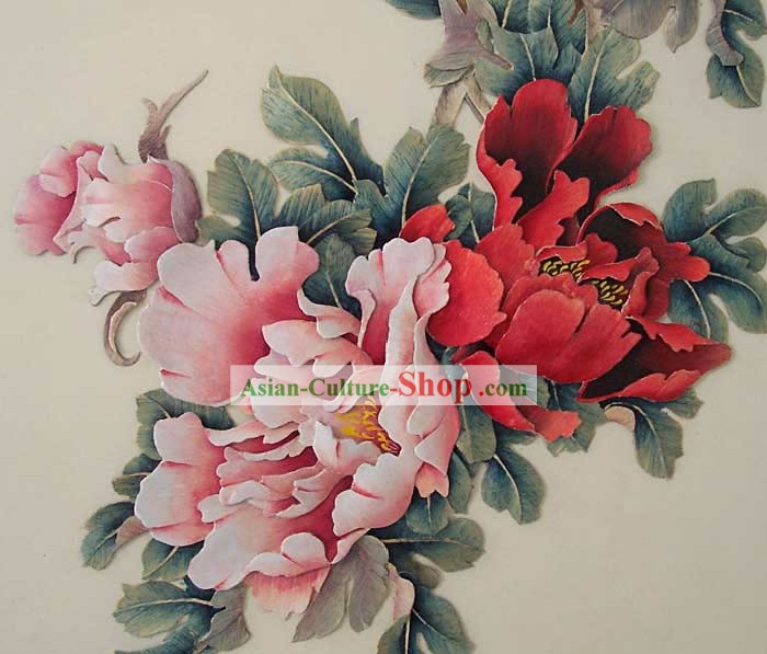 Scolpito a mano Cinese Wood House Solid Decorative Painting-Palace Peony