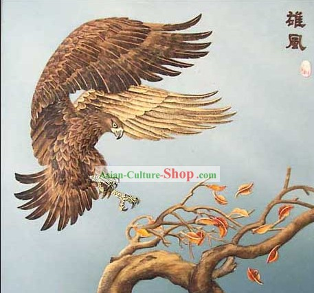 Mano cinese classico Grande Carved Wood House Solid Decorative Painting-Hawk Landing