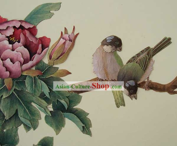 Chinese Classic Large Hand Carved Wood House Solid Decorative Painting-Bird and Flower