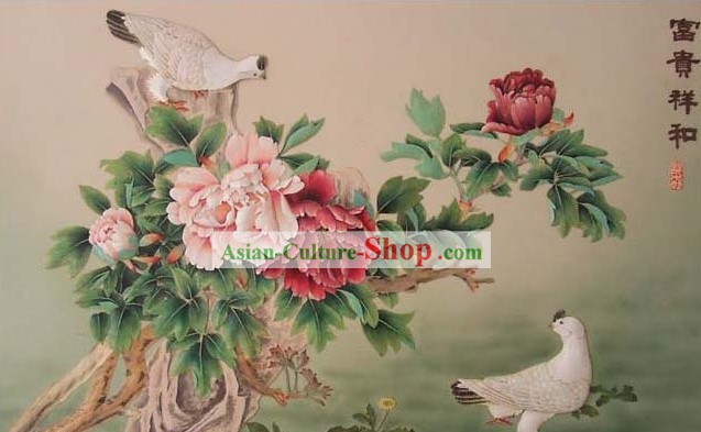 Mano cinese classico Carved Wood House Solid Decorative Painting-Pigeon