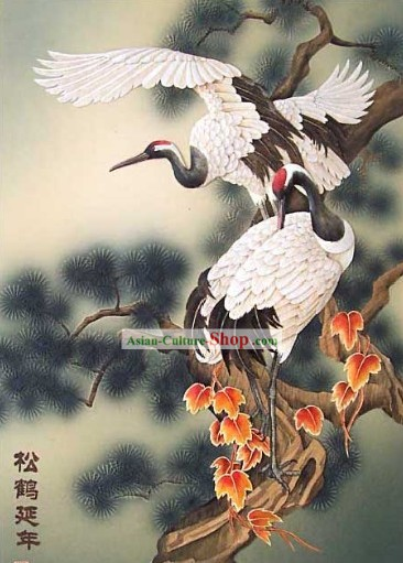Mano cinese classico Carved Wood House Solid Decorative Painting-Cranes