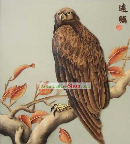 Mano cinese classico Carved Wood House Solid Decorative Painting-Hawk