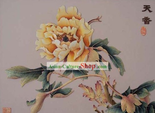 Mano cinese classico Carved Wood House Solid Decorative Painting-Prosperous Peony