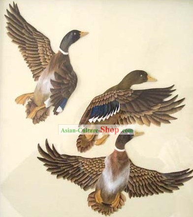 Mano cinese classico Carved Wood House Solid Decorative Painting-Ducks