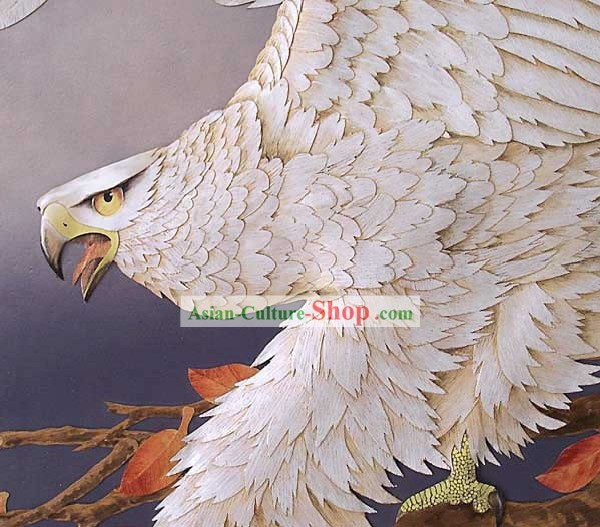 Mano cinese classico Carved Wood House Solid Decorative Painting-Hawk Re