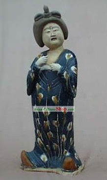 Large Chinese Archaized Tang San Cai Statue (Tri-colour Glazed Pottery)-Tang Dynasty Fat Lady