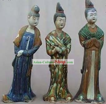 Chinese Classic Archaized Tang San Cai Statue-Maids of Honour (Three Pieces Set)