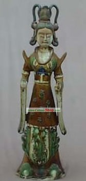 Chinese Classic Archaized Tang San Cai Statue-Tang Dynasty Palace Princess