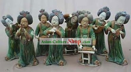 Chinese Classic Archaized Tang San Cai Statue-Tang Dynasty Palace Musicians (Eight Pieces Set)