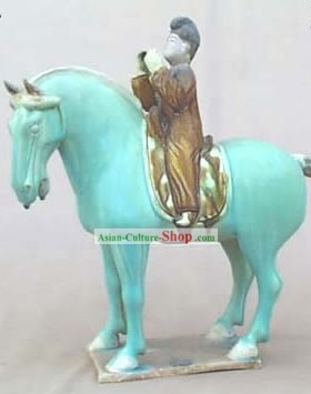 Chinese Classic Archaized Tang San Cai Statue-Tang Dynasty Riding Offical
