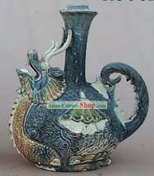 Chinese Classic Archaized Tang San Cai Statue-Dragon and Phoenix Kettle Pair