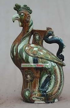 Chinese Classic Archaized Tang San Cai Statue-Phoenix Kettle
