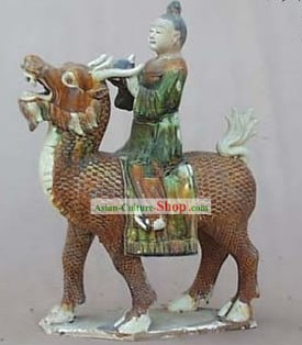 Chinese Classic Archaized Tang San Cai Statue-Kylins