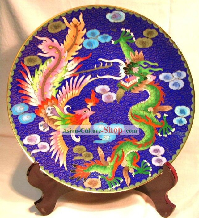 Chinese Classic Cloisonne Craft-Dragon and Phoenix Bringing Good Luck