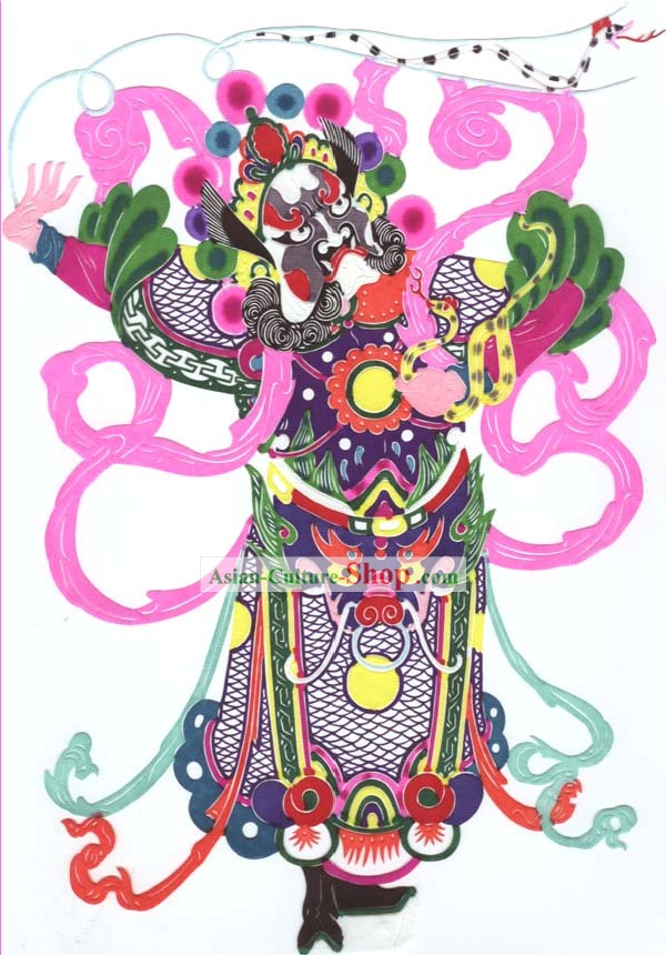 Chinese Classic Hand Made Papercut-One of the Four Heaven Kings 3