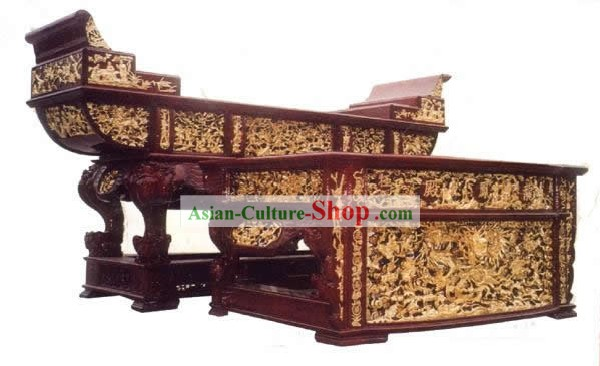 Chinese Ancient Woodcarving Collectible-Dragon Desk