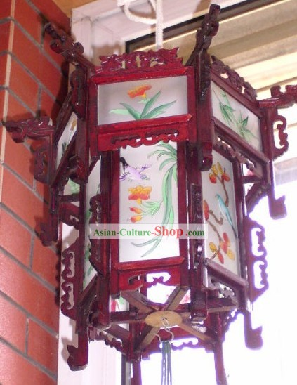 Chinese Two Layers Hand Painted and Carved Palace Flower and Bird Lantern