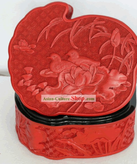 Chinese Hand Carved Palace Lacquer Craft-Mandarin Ducks Box