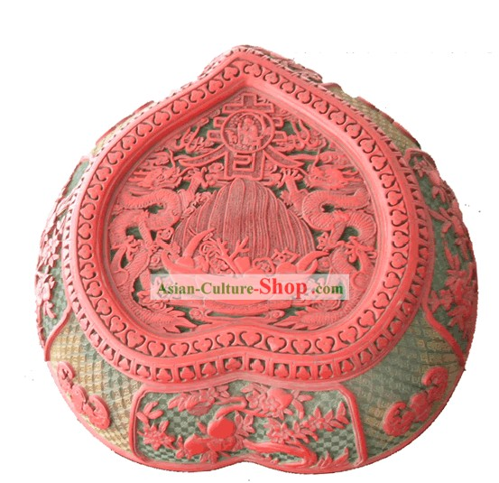 Chinese Hand Carved Palace Lacquer Craft-Longevity Peach