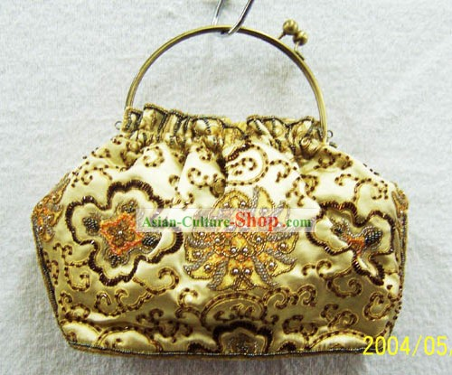 Chinese Traditional Silk Embroidery Golden Bag