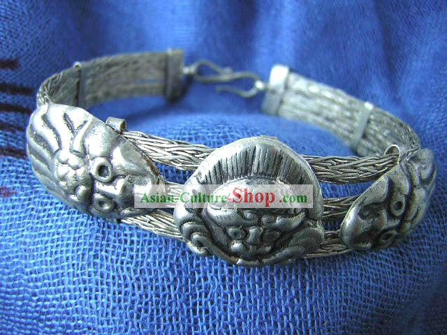 Tibet Silver Ancient Style Bracelet Cuff