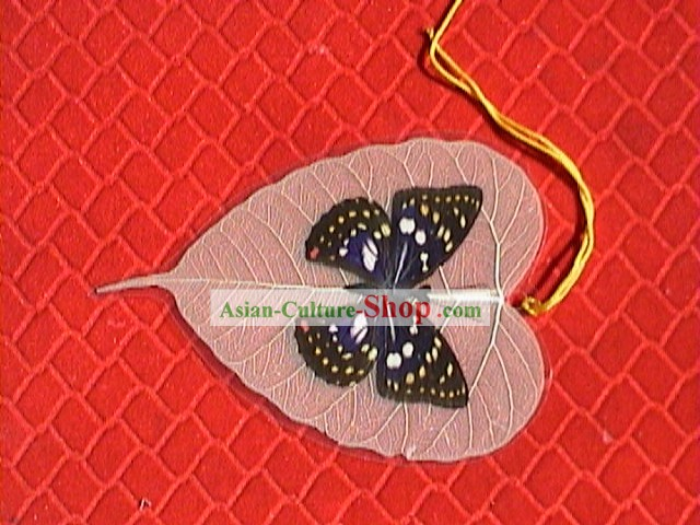 Bookmark of tree of Buddha's leaf vein and butterfly