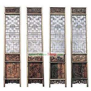 Noble Padauk Antique Style Folding Screen