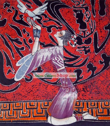 Hand Made Batik Hanging-Peaceful Girl