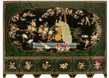 Chinese Hand Made Lacquer Ware Screen-Peacock Flowers Birds