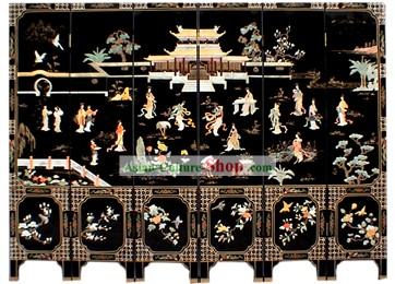 Chinese Hand Made Lacquer Ware Screen-Ancient Fairies