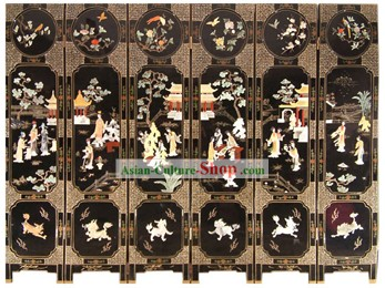 Chinese Hand Made Lacquer Ware Screen-The Dream of Red Chamber