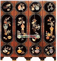 Chinese Hand Made Lacquer Ware Screen-Ancient Palace Ladies