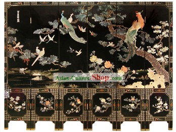 Chinese Hand Made Lacquer Ware Screen-Hundreds of Birds