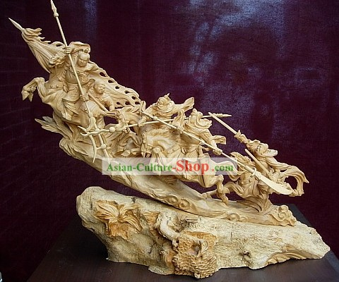 Chinese Hand Carved Sculpture-Three Heroes Fighting with Lu Bu