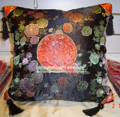 Chinese Peony Palace Silk Cushion