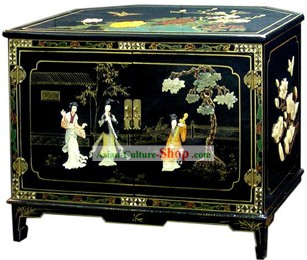 Chinese Palace Lacquer Ware Cabinet-Three Women Playing