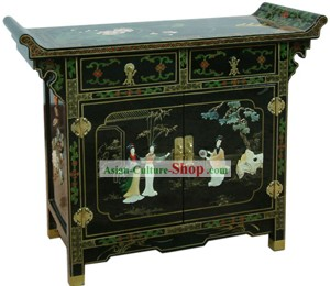 Chinese Classic Palace Lacquer Ware Cabinet-Three Women A Story