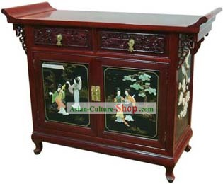 Chinese Classic Red Palace Lacquer Ware Cabinet