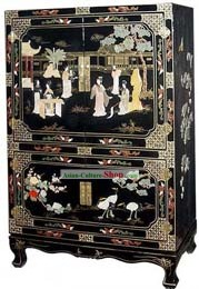 Chinese Classic Lacquer Ware Cabinet-Palace Beauties