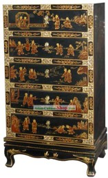 Chinese Palace Lacquer Ware Cabinet-Hundreds of Lucky Children