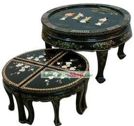 China Palace Lacquer Ware Table and Stool Set