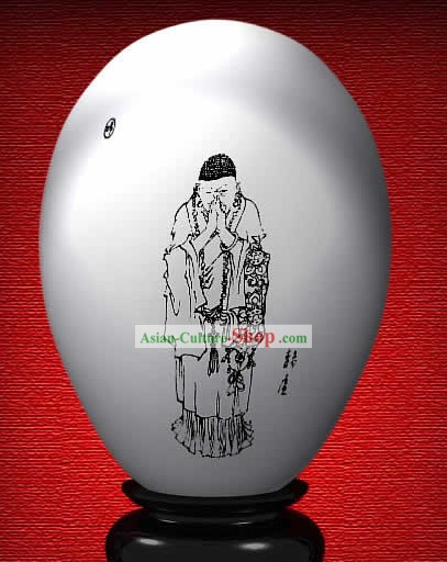 Chinese Wonder Hand Painted Colorful Egg-Jing Chu Monk of The Dream of Red Chamber