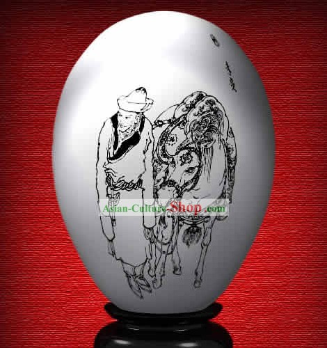 Chinese Wonder Hand Painted Colorful Egg-Li Gui of The Dream of Red Chamber